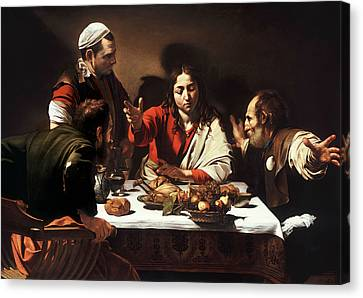 Supper At Emmaus Canvas Print by Caravaggio