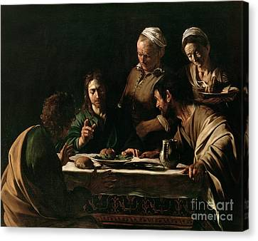 Bible Verse Canvas Print - Supper At Emmaus by Michelangelo Merisi da Caravaggio