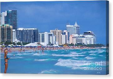 Surf And Turf Canvas Print by Judy Kay
