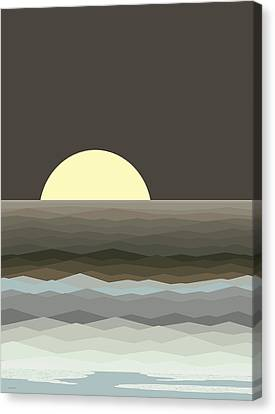 Surf At Moonrise Canvas Print by Val Arie