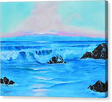 Surf At Sunset  Canvas Print