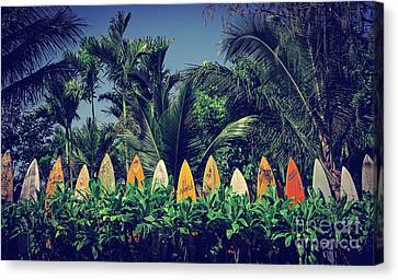 Canvas Print featuring the photograph Surf Board Fence Maui Hawaii Vintage by Edward Fielding