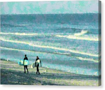 Surf Brothers Canvas Print by Cheryl Waugh Whitney