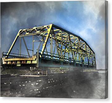 Surf City Nc Swing Bridge Canvas Print by Betsy Knapp