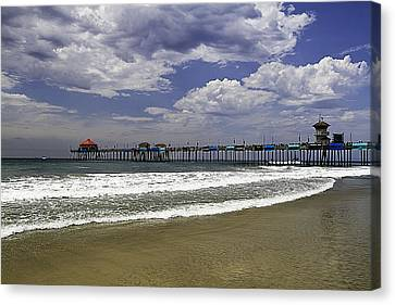 Canvas Print featuring the photograph Surf City Pier by Ron Dubin