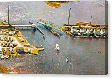 Surf City Swing Bridge Canvas Print by Betsy Knapp