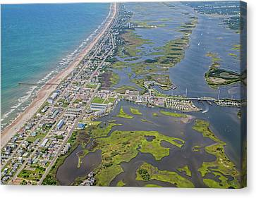 Food Store Canvas Print - Surf City Topsail Island Aerial by Betsy Knapp