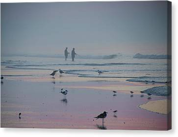 Canvas Print featuring the photograph Surf Fishing In Wildwood by Bill Cannon
