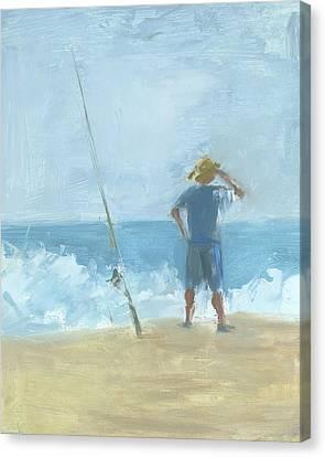 Surf Fishing Canvas Print by Chris N Rohrbach