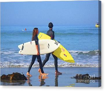 Surf Mates Canvas Print by Waterdancer