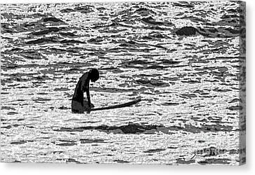 Canvas Print featuring the digital art Surf Meditation by Suzette Kallen