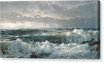 Surf On The Rocks Canvas Print by  Newwwman