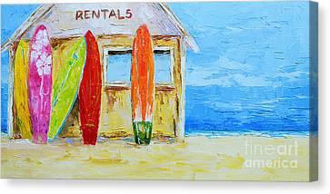 Surf Board Rental Shack At The Beach - Modern Impressionist Palette Knife Work Canvas Print