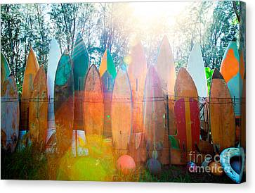 Surfboards Sun Flare Canvas Print