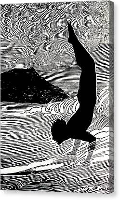 Surfer And Waikiki Canvas Print by Hawaiian Legacy Archive - Printscapes