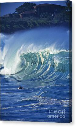 Surfer And Wave Canvas Print by Vince Cavataio - Printscapes