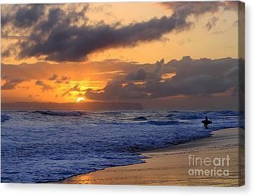 Surfer At Sunset On Kauai Beach With Niihau On Horizon Canvas Print