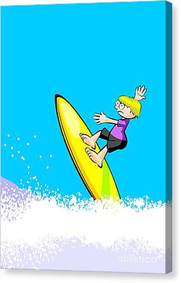Child Canvas Print - Surfer Boy Riding On The Waves by Daniel Ghioldi