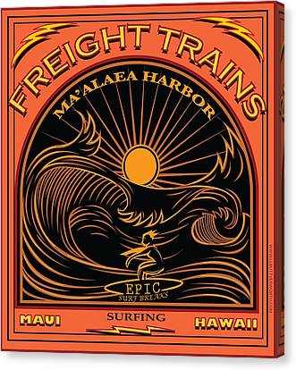 Surfer Freight Trains Maui Hawaii Canvas Print by Larry Butterworth