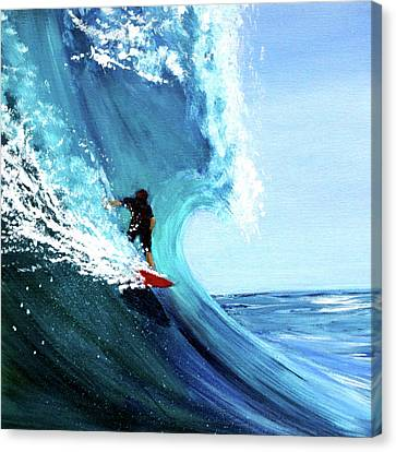 Surfer On A Red Board Canvas Print