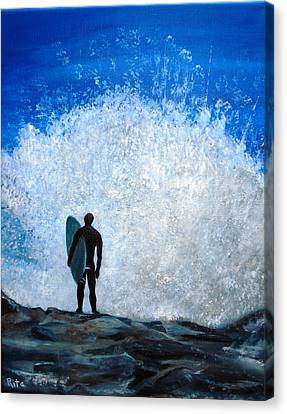 Surfer On Jetty Canvas Print