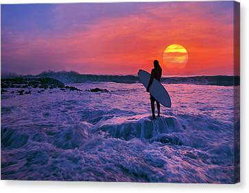 Surfer On Rock Looking Out From Blowing Rocks Preserve On Jupiter Island Canvas Print by Justin Kelefas