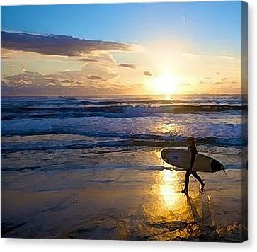 Surfer Sunset Canvas Print by Deborah Rosier