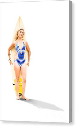 Surfer With Surf Board Canvas Print by Jorgo Photography - Wall Art Gallery
