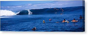 Risk Society Canvas Print - Surfers In The Sea, Tahiti, French by Panoramic Images