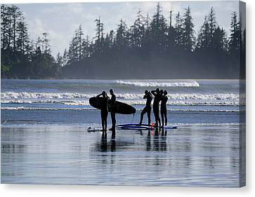 Surfers Suiting Up Canvas Print