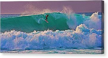 Surfing A-bay At Sunset Canvas Print