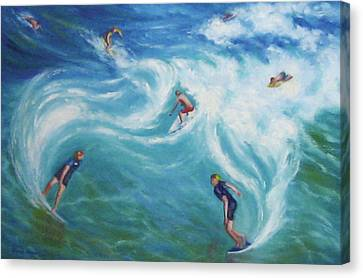 Surfing Canvas Print by Diane Quee