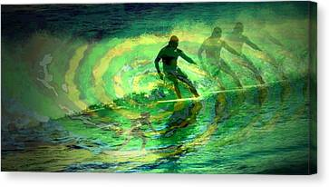 Surfing For The Gold Abstract Canvas Print by Joyce Dickens