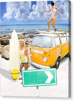 Volkswagon Canvas Print - Surfing Holiday This Way by Jorgo Photography - Wall Art Gallery