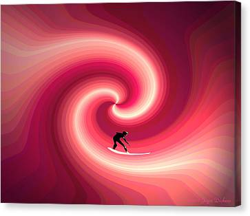 Surfing In The Sunset Two Canvas Print by Joyce Dickens