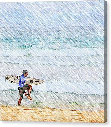 Surfer In Aus Canvas Print by Daisuke Kondo