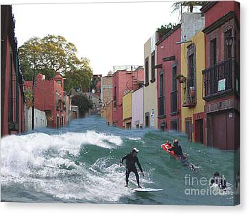Canvas Print featuring the photograph Surfing Quebrada by John  Kolenberg
