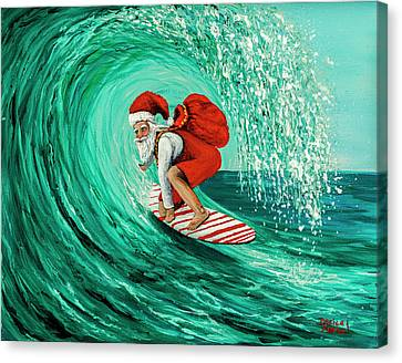Canvas Print featuring the painting Surfing Santa by Darice Machel McGuire