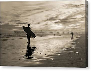 Surfing The Shadows Of Light Sepia Canvas Print by Betsy Knapp