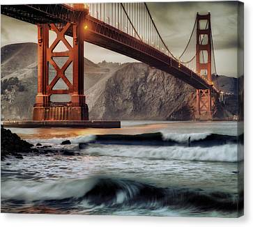 Surfing The Shadows Of The Golden Gate Bridge Canvas Print