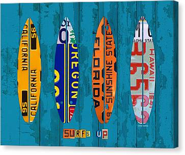 Surfs Up Surf Board Beach Ocean Decor Recycled Vintage License Plate Art Canvas Print