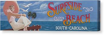 Surfside Beach Sign Canvas Print by Barbara McDevitt