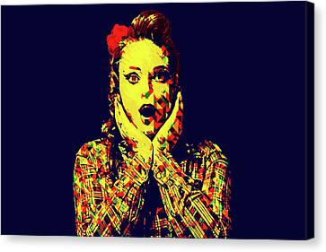 1950s Portraits Canvas Print - Surprise Girl Pop Art by Elena Riim