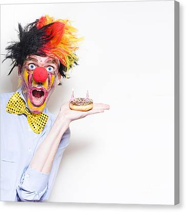 Unexpected Canvas Print - Surprise Happy Birthday Clown Holding Party Cake by Jorgo Photography - Wall Art Gallery