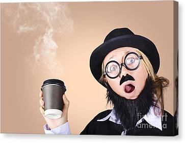 Surprised Business Person High On Coffee Canvas Print by Jorgo Photography - Wall Art Gallery