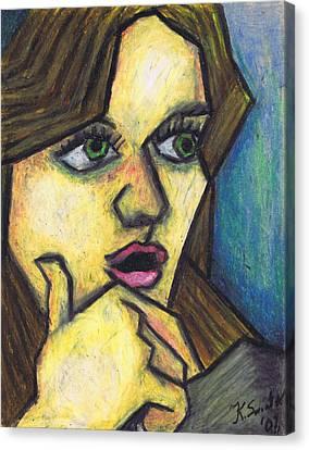 Surprised Girl Canvas Print by Kamil Swiatek