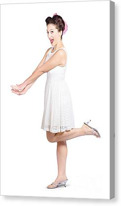 Surprised Housewife Kicking Up Leg In White Dress Canvas Print by Jorgo Photography - Wall Art Gallery