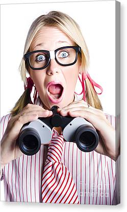 Surprised Nerd Looking To Future With Binoculars Canvas Print