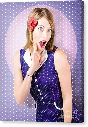 Hairstyle Canvas Print - Surprised Pin-up Woman In Purple Polka Dot Dress by Jorgo Photography - Wall Art Gallery