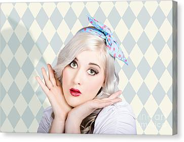 Surprised Pin Up Woman With Perfect Makeup Canvas Print by Jorgo Photography - Wall Art Gallery